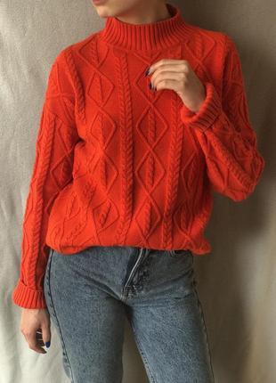 Шикарный морковный свитер с горлом