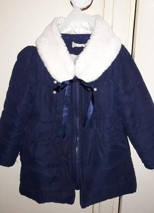 Пальто куртка с баской и мехом