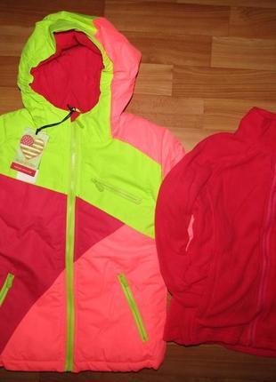 Термо лыжная куртка 3в1 с флиской для девочек, 98-128, венгрия