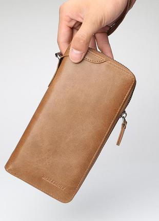 Мужской портмоне, кошелек baellerry strict эко-кожа коричневый