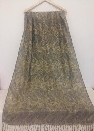 Жаккардовая шаль, палантин с ткаными цветами и бахромой