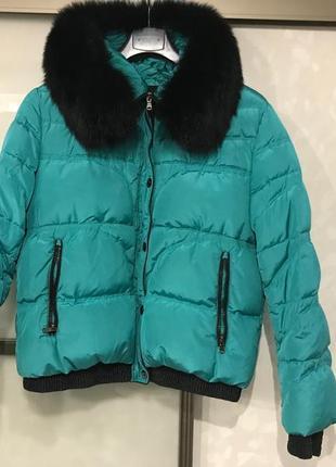 Пуховик зимний женский мех натуральный песец куртка зимняя женская