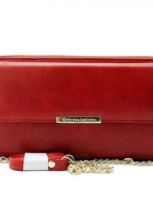 Женская клатч сумочка, портмоне baellerry only you эко-кожа красная