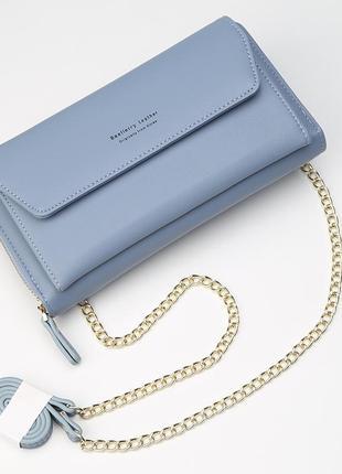 Женская клатч сумочка baellerry leather эко-кожа голубая