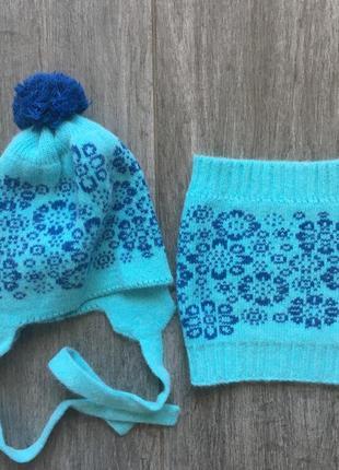 Зимний набор снуд и шапка, ангора/шерсть 46-52 см, 1,5-2-2,5оренбургский пуховой