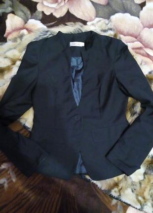 Пиджак коттон черный стильный на одной пуговке р.с/м