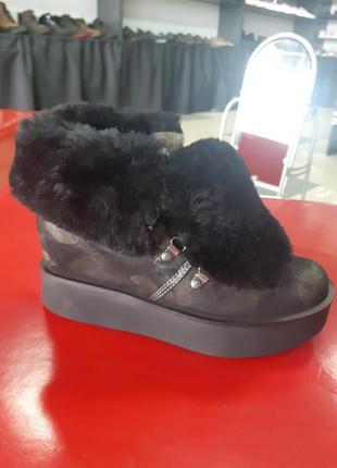 Кожанные зимние ботинки1 фото