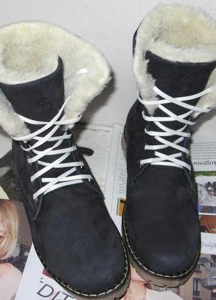 Зимние женские синие ботинки берцы из натурального качественного нубука