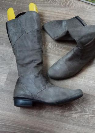 Шикарные высокие кожаные сапоги durea р.42 большой размер на широкую ногу