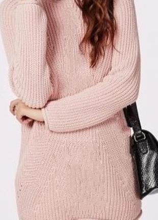 Пудровый свитер   divided   h&m  платье туника с хомутом вязаный нм
