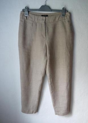 Стильные льняные укороченые  брюки