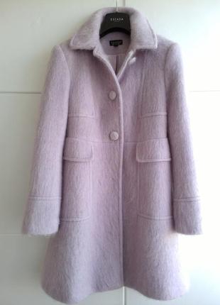 Теплое пальто цвета лаванды, шерсть, мохер