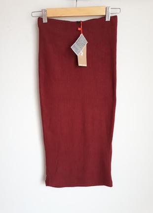 Бордовая юбка миди в рубчик tally weijl