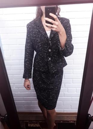 Очень стильный твидовый шерстяной костюм двойка юбка карандаш пиджак жакет