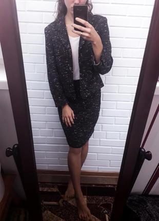Очень стильный твидовый шерстяной костюм двойка юбка карандаш пиджак жакет4 фото