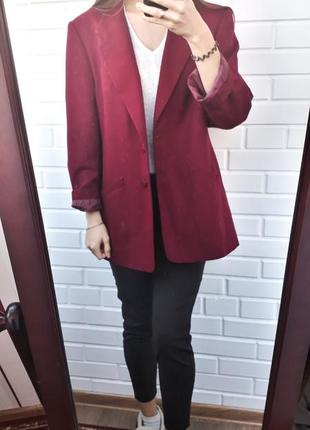 Супер удлиненный пиджак жакет пальто цвет бордо марсала