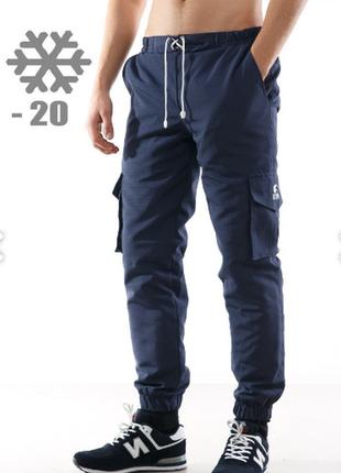 Штаны-карго на флисе,с лого ястреб,рип стоп,размер:s-xxl черные, синие, мультикам, пиксель