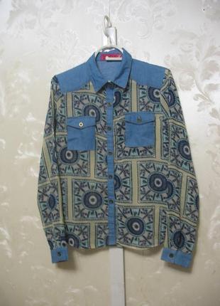 Комбинированная джинсовая рубашка boohoo