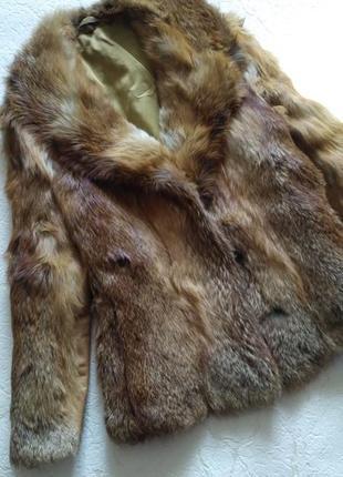 Шуба рыжая из натурального меха лисы