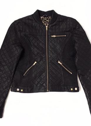 Черная куртка из кожзама на молнии selected femme размер l/12/40.