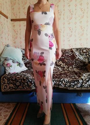 Платье вечернее с разрезом и цветами asos