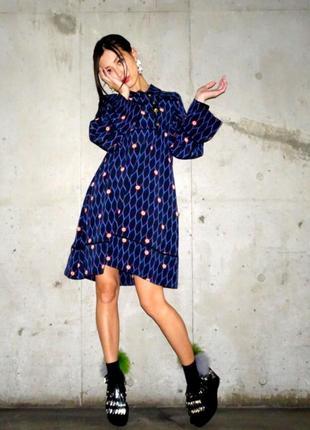 Шелковое платье трапецыя kenzo×h&m m