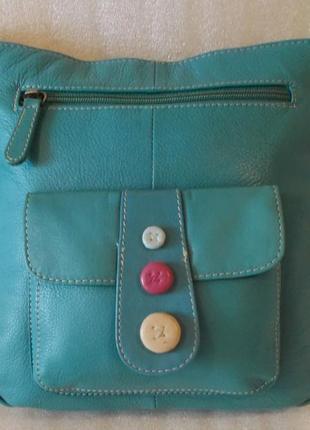 Бирюзовая сумка-планшетка натуральная кожа.