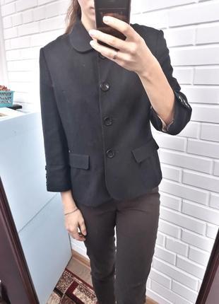 Черный стилтный жакет пиджак рукав 3/4 в составе лён