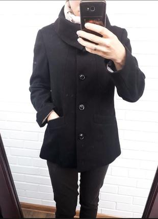 Шерстяное весенее пальто h&m полупальто с воротником плотное структурированое2 фото