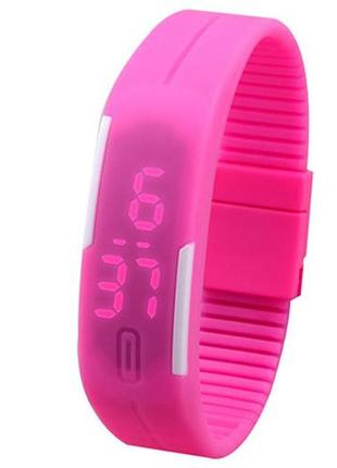 Силиконовые светодиодные led часы-браслет женские и мужские разных цветов