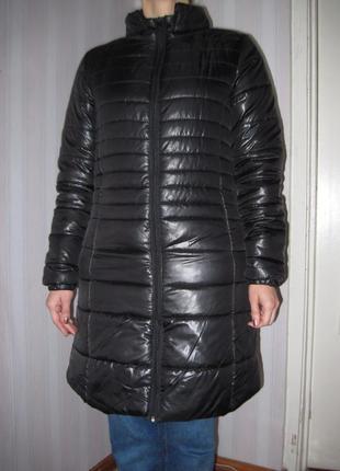 Черное зимнее женское стеганное пальто на синтепоне теплое in extenso р.46-48 до колена