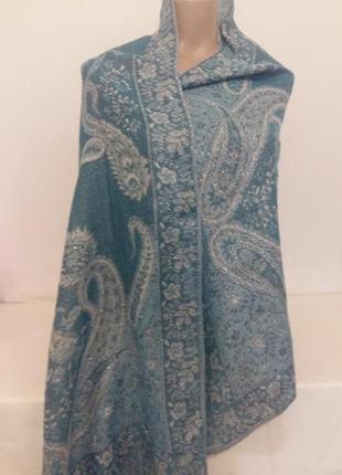 Жаккардовая шаль,шикарный палантин с ткаными цветами и бахромой