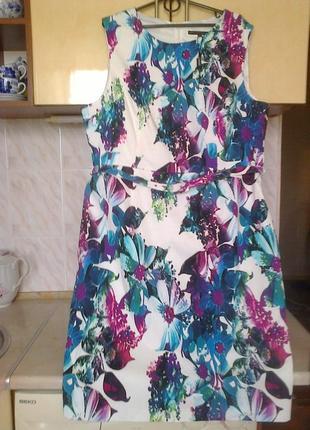 Новое брендовое шикарное платье - кокон - бочонок, на подкладке, коттон