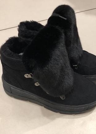 Теплые ботинки на меху reserved зимние сапоги под замш есть размеры