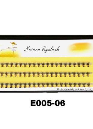 Е005-06 безузелковые пучковые ресницы nesura (60 пучков) 6мм