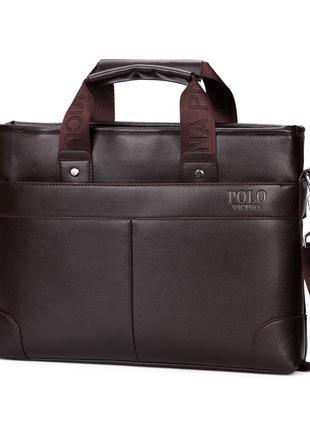 Мужская сумка портфель polo vicuna a4 v6602 деловой коричневый