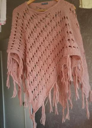 Вязаное пончо накидка в составе шерсть