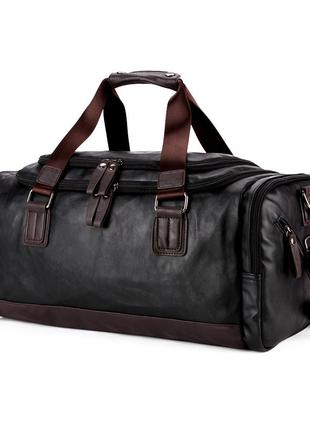 Дорожная сумка мужская вместительная polo vicuna эко-кожа черная