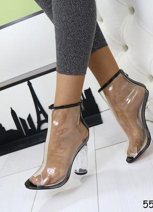 Прозрачные стликоновые сапожки - босоножки на каблуку