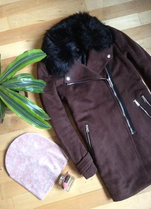 Пальто-дубленка из эко замши amisu. как новое!