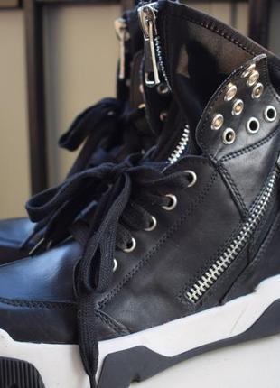 Кожаные ботинки полусапожки италия ручная работа р.37 24 см