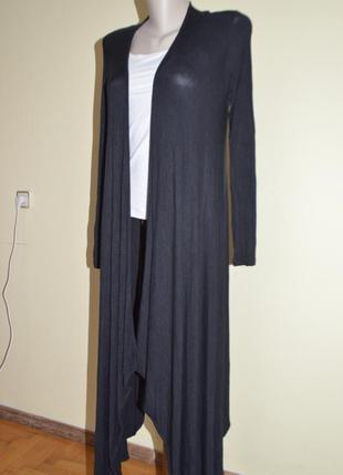Стильный длинный черный кардигаан
