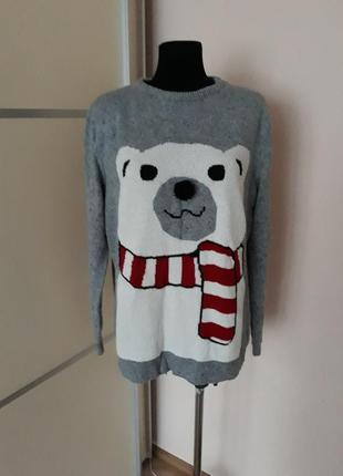 1+1=3 супер новогодний свитер  с мишкой