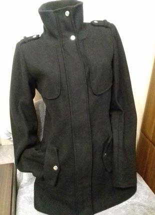 Черное женское пальто /полупальто /тренч vero moda,р.s, шерсть