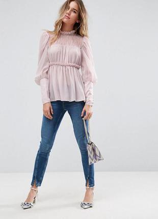 Блуза asos шифоновая розовая блуза оригинальная блузка