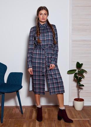 Зимнее платье платье в офис платье туника платье в клетку платье миди