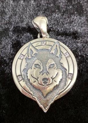 Серебряный кулон в виде волка