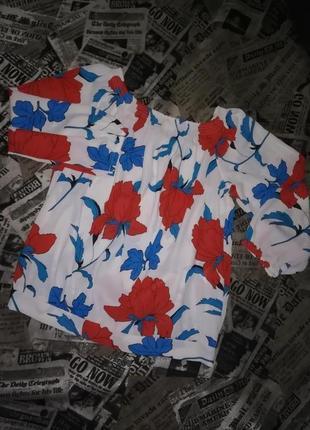 Блуза oasis в принт цветы