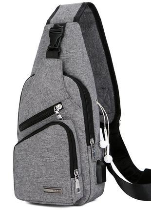 Мужская сумка через плечо polo vicuna v9923 серая