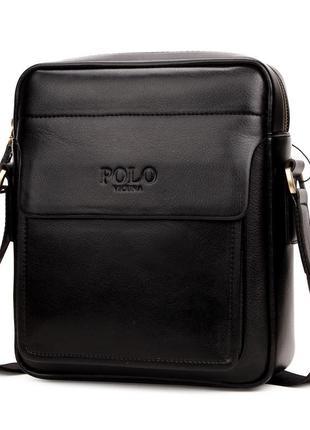 Мужская сумка через плечо, мессенджер polo vicunav8809 черная